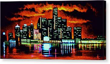 Detroit In Black Light Sold Canvas Print