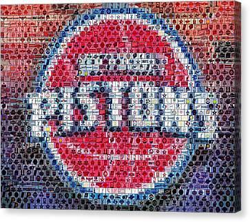 Detroit Pistons Mosaic Canvas Print by Paul Van Scott