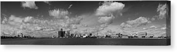 Detroit Skyline In Black And White Canvas Print by Twenty Two North Photography