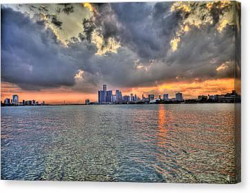 Detroit Sunset  Canvas Print by Nicholas  Grunas