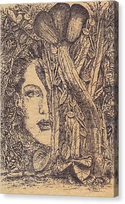Canvas Print featuring the drawing Deusa Da Selva by Buck Buchheister