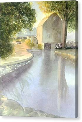 Dexter Grist Mill Reflections Canvas Print by Joseph Gallant