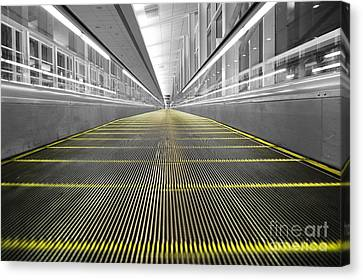 Canvas Print featuring the photograph Dfw Airport Walkway Perspective Color Splash Black And White by Shawn O'Brien