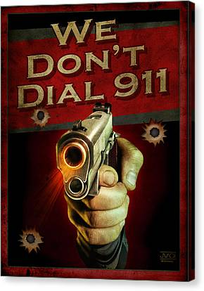 Pistol Canvas Print - Dial 911 by JQ Licensing