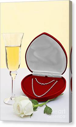 Diamond Necklace With Champagne And White Rose. Canvas Print by Richard Thomas
