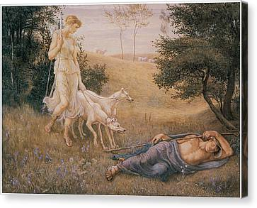 Diana And Endymion Canvas Print by Walter Crane
