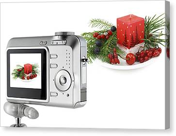Canvas Print featuring the photograph Digital Camera And A Christmas Bouquet Collage by Aleksandr Volkov