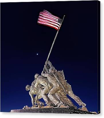 Canvas Print featuring the digital art Digital Drawing - Iwo Jima Memorial At Dusk by Metro DC Photography