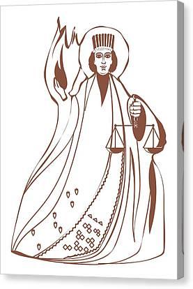 Full-length Portrait Canvas Print - Digital Illustration Of Asha Vahishta Holding Scales With Flames Arising Behind by Dorling Kindersley