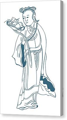 Digital Illustration Of Chinese Immortal, Ho Hsien Ku Canvas Print by Dorling Kindersley