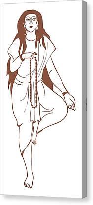 Full-length Portrait Canvas Print - Digital Illustration Of Hindu Goddess Parvati Standing On One Leg And Holding Prayer Beads by Dorling Kindersley