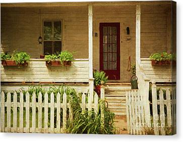 Digital Painting Of Front Porch Rural Farmhouse Canvas Print by Sandra Cunningham