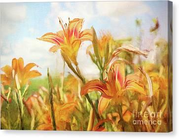 Digital Painting Of Orange Daylilies Canvas Print by Sandra Cunningham