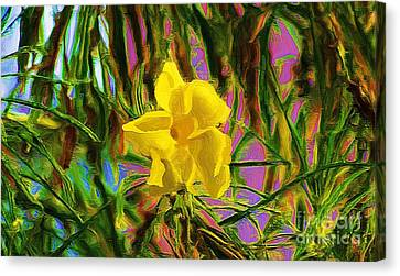 Canvas Print featuring the digital art Digital Painting Of Yellow Orchid by John  Kolenberg