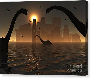 Dinosaurs Feed Near The Shores Canvas Print by Mark Stevenson