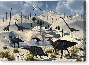 Dinosaurs Gather At A Life Saving Oasis Canvas Print by Mark Stevenson