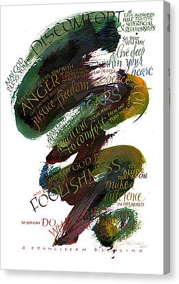 Discomfort Green Canvas Print by Judy Dodds