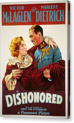 Dishonored, Marlene Dietrich, Victor Canvas Print by Everett