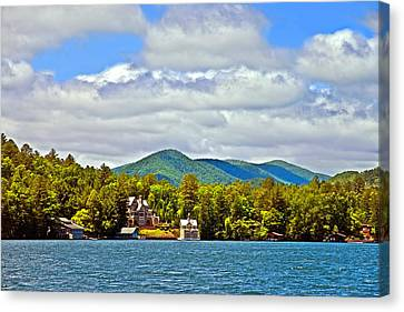 Distant Lake View In Spring Canvas Print by Susan Leggett