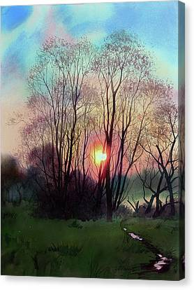 Distant Sunset Canvas Print by Sergey Zhiboedov