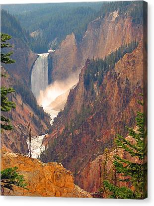 Distant Thunder-lower Waterfall Of Yellowstone Canvas Print