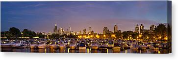 Sky Line Canvas Print - Diversey Harbor At Dusk by Twenty Two North Photography