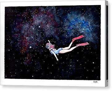 Diving Through Nebulae Canvas Print by Katchakul Kaewkate