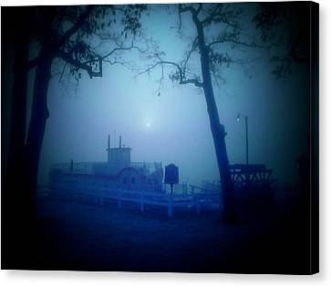 Dixie Boat Fog By Cell Phone Canvas Print by Michael L Kimble