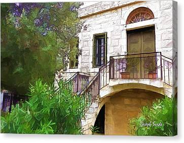 Canvas Print featuring the photograph Do-00490 Balcony Of Old House by Digital Oil
