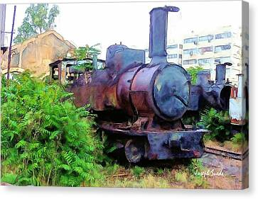 Canvas Print featuring the photograph Do-00504 Train In Mar Mickael by Digital Oil