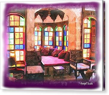 Canvas Print featuring the photograph Do-00520 Emir Bachir Palace Interior-violet Bkgd by Digital Oil