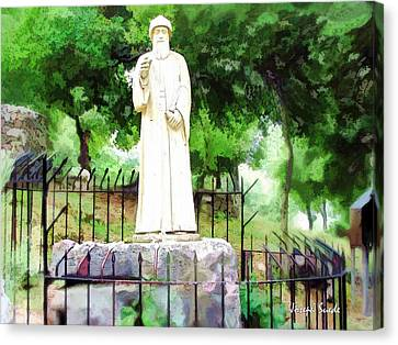 Canvas Print featuring the photograph Do-00541 St Charbel Statue by Digital Oil