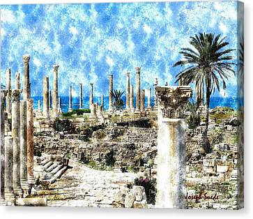 Canvas Print featuring the photograph Do-00549 Ruins And Columns - Town Of Tyr by Digital Oil