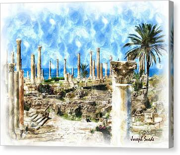 Canvas Print featuring the photograph Do-00550 Ruins And Columns by Digital Oil