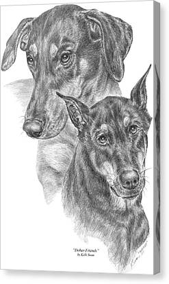 Dober-friends - Doberman Pinscher Dogs Portrait Canvas Print by Kelli Swan