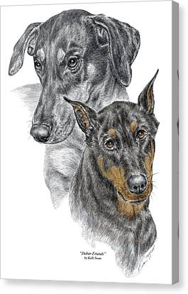 Canvas Print featuring the drawing Dober-friends - Doberman Pinscher Portrait Color Tinted by Kelli Swan