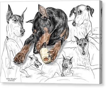 Canvas Print featuring the drawing Dober-thoughts - Doberman Pinscher Montage Print Color Tinted by Kelli Swan