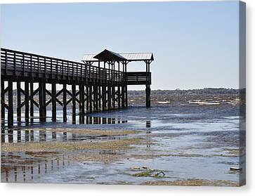 Dock At Low Tide Canvas Print by Tiffney Heaning
