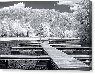 Canvas Print featuring the photograph Dock In Infrared by Mary Almond