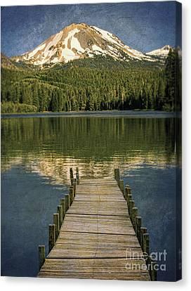 Dock On Mountain Lake Canvas Print by Jill Battaglia