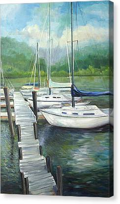 Dock Side Canvas Print by Max Mckenzie