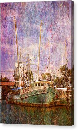 Shrimp Boat Canvas Print - Docked And Waiting by Barry Jones