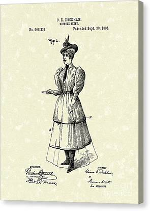 Dockham Bicycle Skirt 1896 Patent Art  Canvas Print