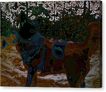 dog in snow - not by Hundertwasser II Canvas Print