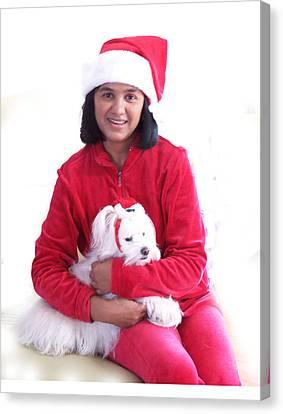 White Maltese Canvas Print - Doggie Christmas by Vijay Sharon Govender