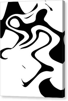 Doggy Style Black On White Canvas Print by Steve K