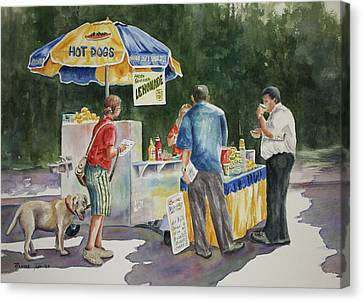 Canvas Print featuring the painting Dogs In The Park by Roxanne Tobaison