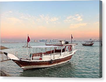 Doha Bay Qatar Sunset Canvas Print by Paul Cowan