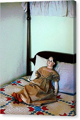 Doll On Four Poster Bed Canvas Print by Susan Savad