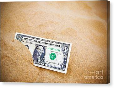 Dollar In The Sand Horizontal. Canvas Print by Richard Thomas